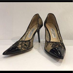Authentic Jimmy Choo black lace Alias pumps 36